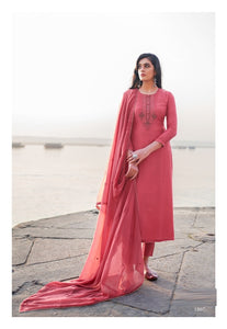 Pink Plazzo Suit  made of Cotton Silk with Modal Dupatta