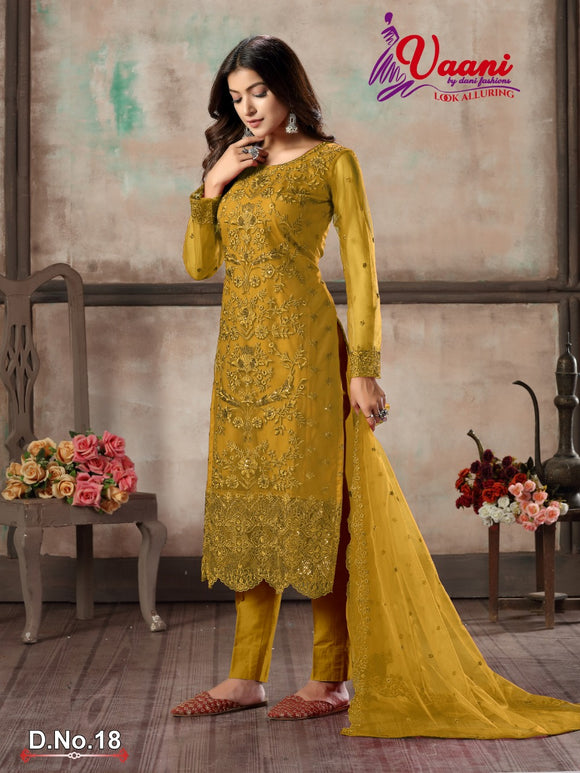 Yellow Salwar Suit made of Net with Net Dupatta