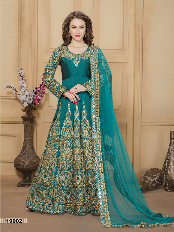 Turquoise Color Tafeta silk Mirror work And Resham work Anarkali Suits with Net Duppatta - Dani Fashions