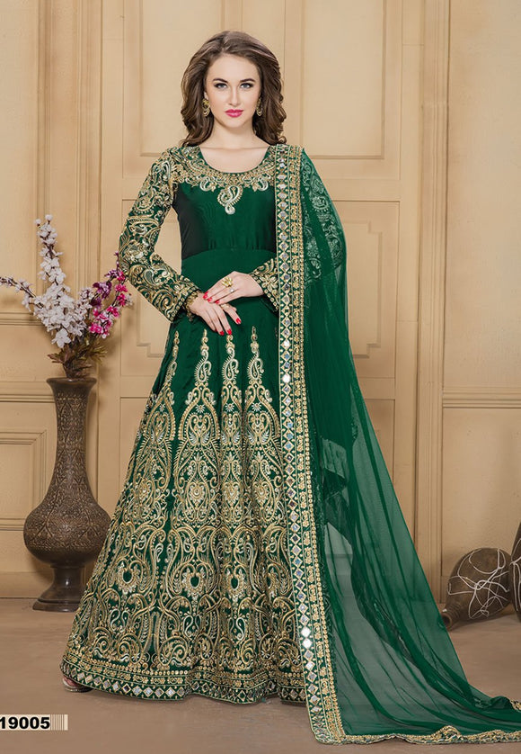 Green Color Tafeta silk Mirror work And Resham work Anarkali Suits with Net Duppatta