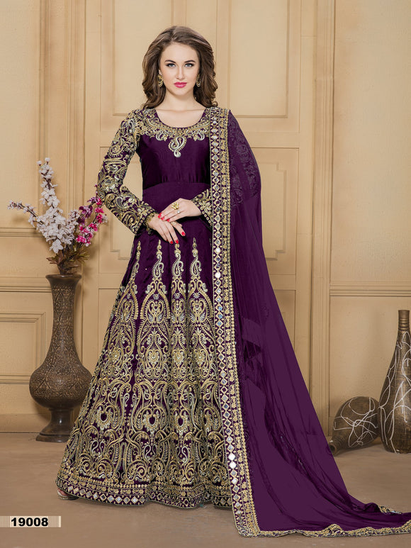 Wine Color Tafeta silk Mirror work And Resham work Anarkali Suits with Net Duppatta