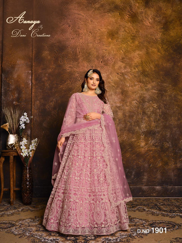 Pink Color Net Anarkali Suits with Net with Heavy Work Dupatta