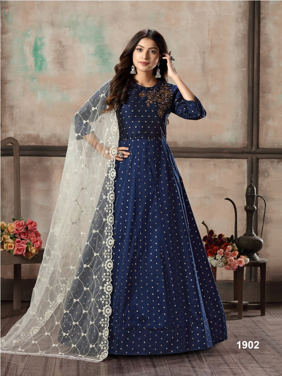 Blue Tafeta Butti Hand Work AnarkaliSantool and Net Dupatta