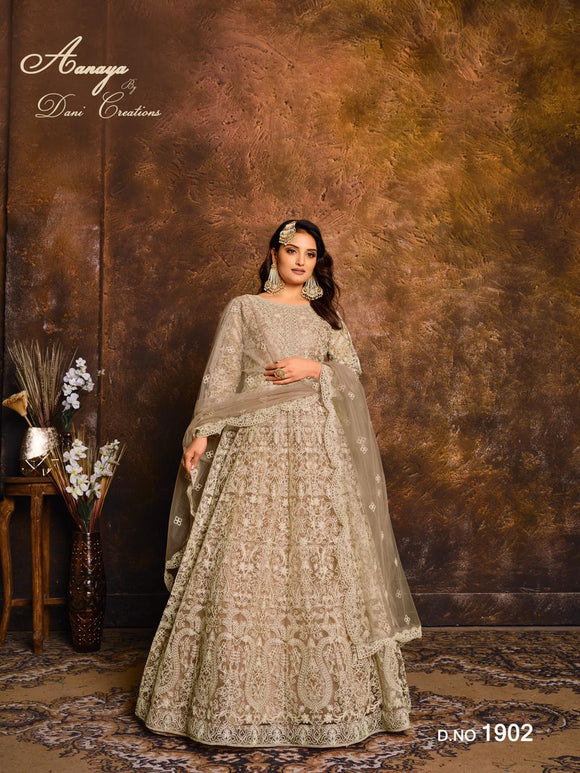 Beige Color Net Anarkali Suits with Net with Heavy Work Dupatta