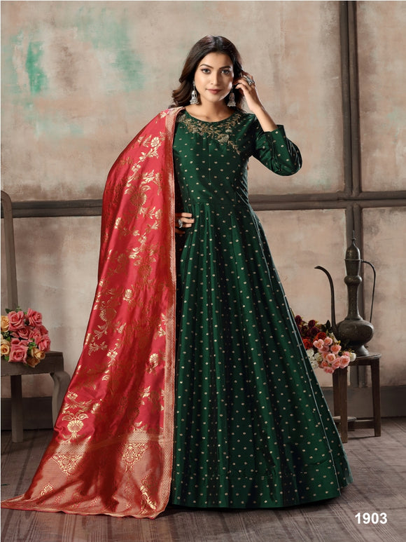 Green Tafeta Butti Hand Work Anarkali Santool and Jacquard Silk Dupatta