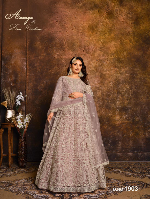 Dusty Pink Color Net Anarkali Suits with Net with Heavy Work Dupatta