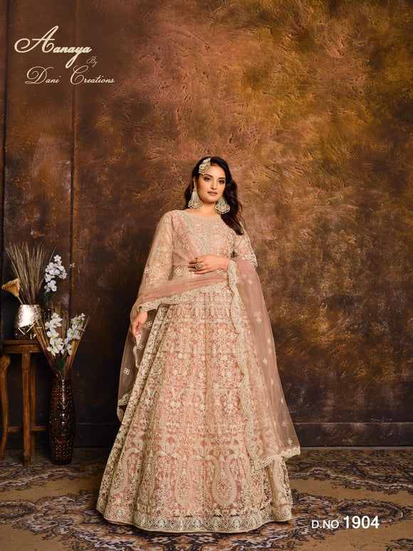 Peach Color Net Anarkali Suits with Net with Heavy Work Dupatta