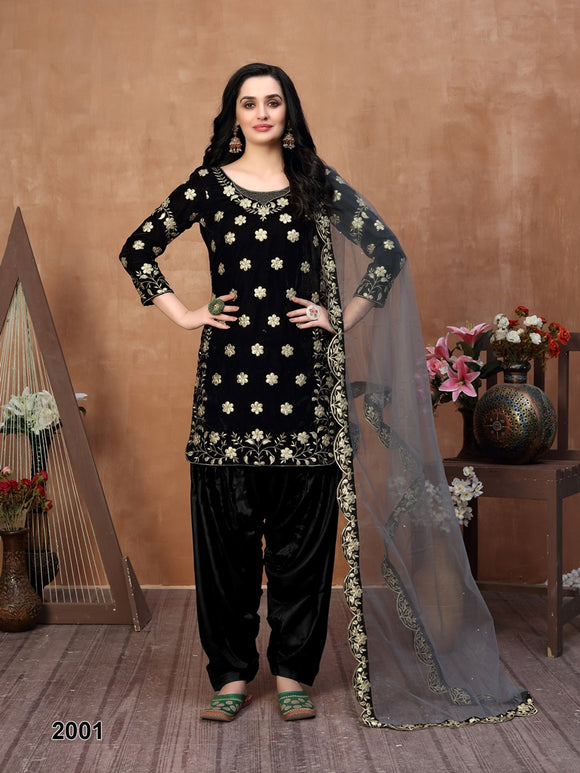 Black Patiala Suit made of Velvet with Net Heavy Work Dupatta