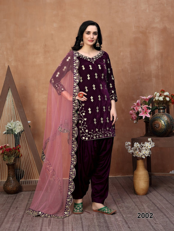 Purple Patiala Suit made of Velvet with Net Heavy Work Dupatta
