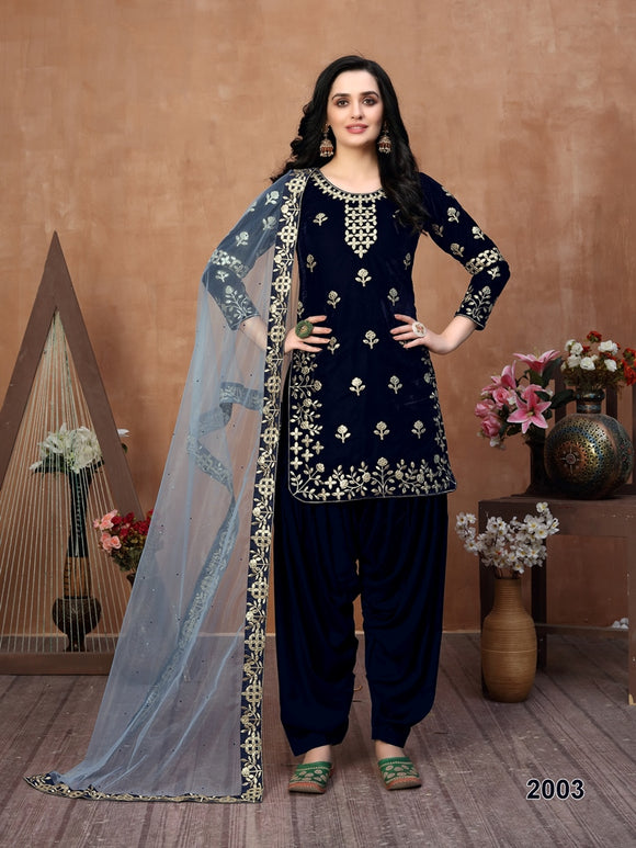 Blue Patiala Suit made of Velvet with Net Heavy Work Dupatta