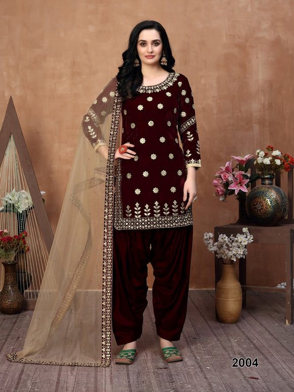 Marron Patiala Suit made of Velvet with Net Heavy Work Dupatta