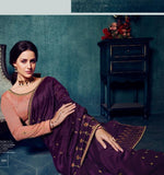 Silk Embroidered Purple Saree With Contrast Blouse