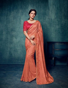 Silk Embroidered Peach Saree With Contrast Blouse