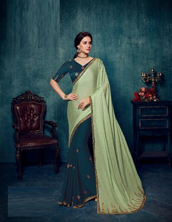 Silk Embroidered Olive Green Saree With Contrast Blouse