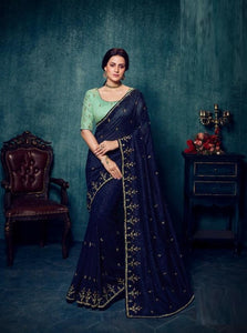 Silk Embroidered Blue Saree With Contrast Blouse