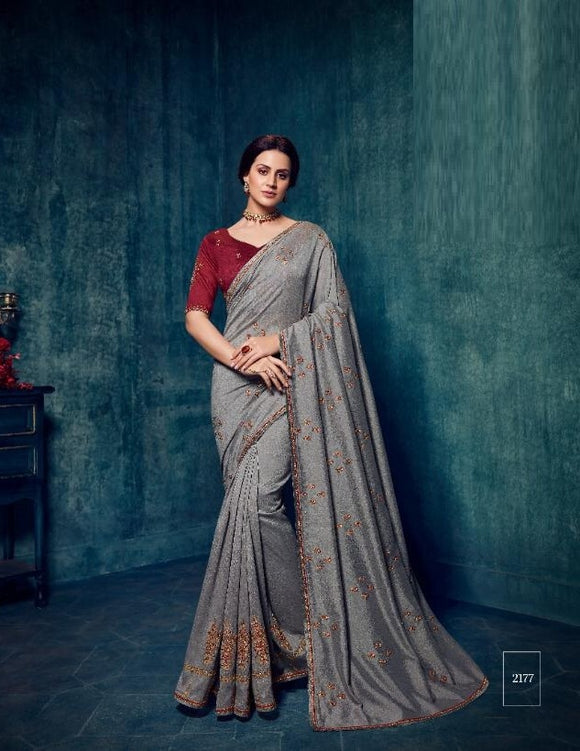 Silk Embroidered Grey Saree With Contrast Blouse