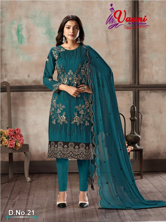 Rama Salwar Suit made of Faux Georgette with Faux Georgette Dupatta