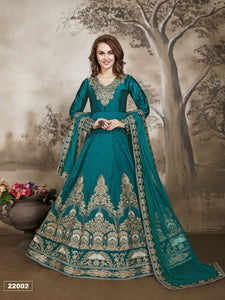 Turquoise Color Tafeta Silk Anarkali Suits with Net With Heavy Embroidery Border Work  Dupatta - Dani Fashions