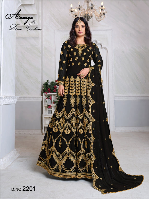 Black Color Faux Georgette Anarkali Suits with Faux Georgette Dupatta