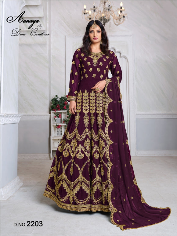 Purple Color Faux Georgette Anarkali Suits with Faux Georgette Dupatta