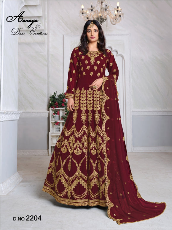 Marron Color Faux Georgette Anarkali Suits with Faux Georgette Dupatta