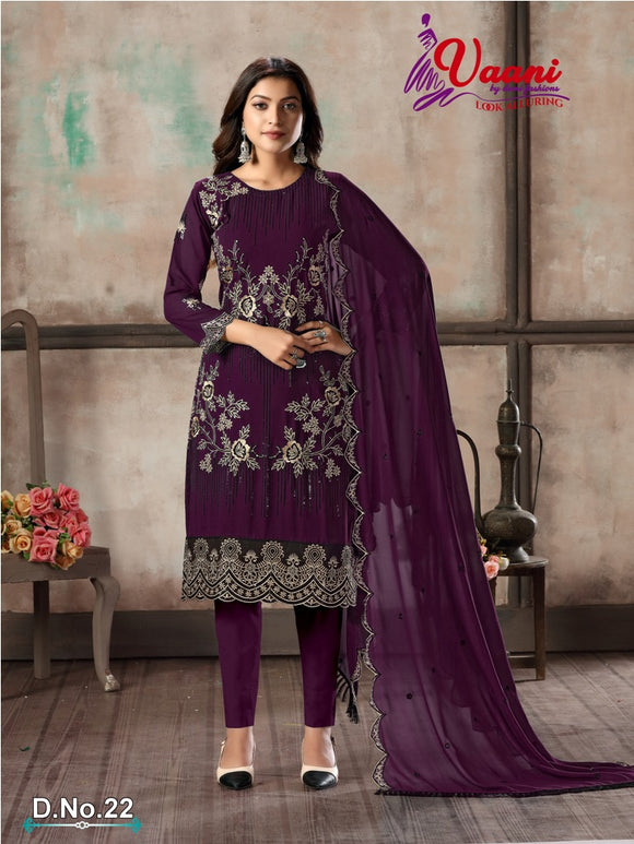 Purple Salwar Suit made of Faux Georgette with Faux Georgette Dupatta