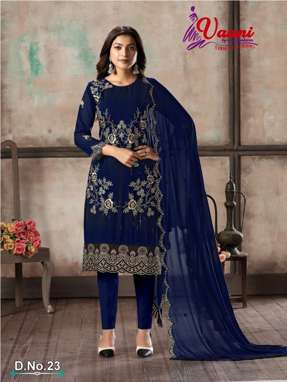 Blue Salwar Suit made of Faux Georgette with Faux Georgette Dupatta