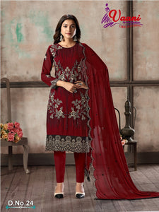 Marron Salwar Suit made of Faux Georgette with Faux Georgette Dupatta