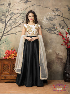 Black Color Tafeta silk Resham work Anarkali Suits with Net Duppatta
