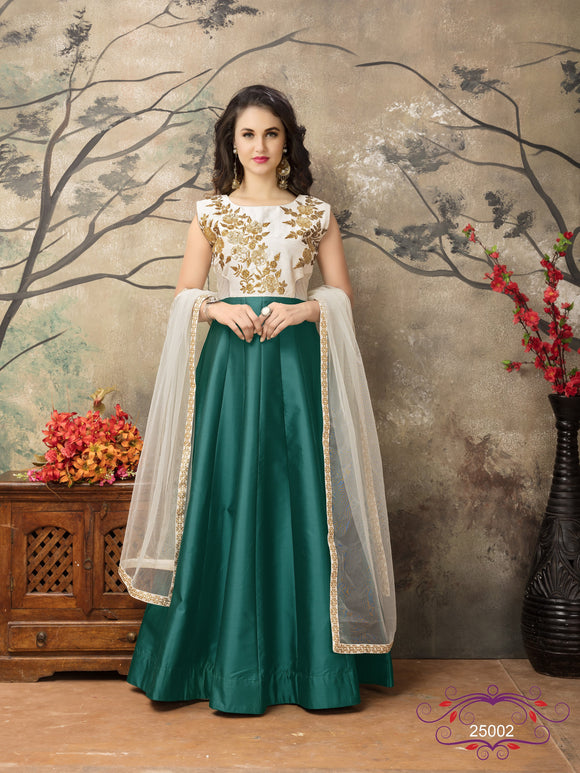 Turquoise Color Tafeta silk Resham work Anarkali Suits with Net Duppatta