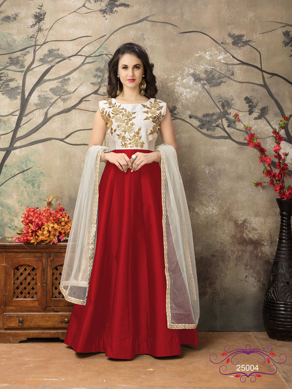 Red Color Tafeta silk Resham work Anarkali Suits with Net Duppatta - Dani Fashions