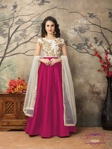 Pink Color Tafeta silk Resham work Anarkali Suits with Net Duppatta - Dani Fashions