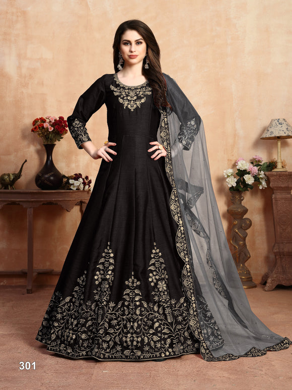 Black Color Art Silk (Slub Based Fancy Fabric) Anarkali Suits with Net With Heavy Border Work Dupatta - Dani Fashions