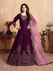 Purple Color Art Silk (Slub Based Fancy Fabric) Anarkali Suits with Net With Heavy Border Work Dupatta - Dani Fashions