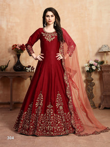 Red Color Art Silk (Slub Based Fancy Fabric) Anarkali Suits with Net With Heavy Border Work Dupatta - Dani Fashions