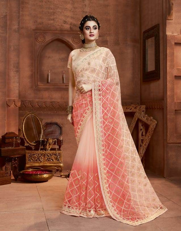 Net Peach Saree With Matching Blouse