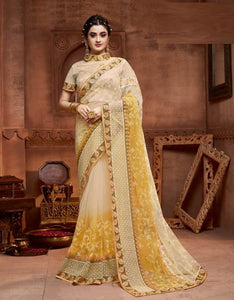 Net Yellow Saree With Matching Blouse