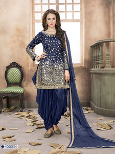 Neavy Blue Patiala Suit made of Taffeta with Matching Net Dupatta - Dani Fashions