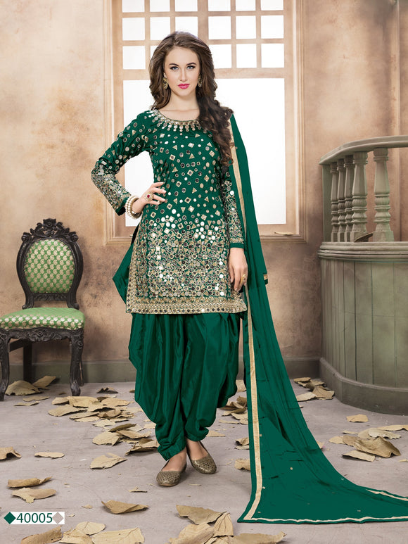 Green Patiala Suit made of Taffeta with Matching Net Dupatta - Dani Fashions