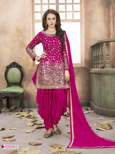 Pink Patiala Suit made of Taffeta with Matching Net Dupatta