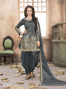 Grey Patiala Suit made of Taffeta with Matching Net Dupatta - Dani Fashions