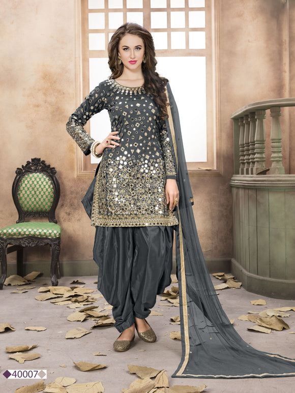 Grey Patiala Suit made of Taffeta with Matching Net Dupatta