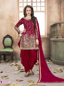 Marron Patiala Suit made of Taffeta with Matching Net Dupatta - Dani Fashions