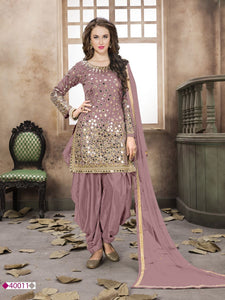 Dusty Pink Tafeta Mirror work Patiala Salwar Suit