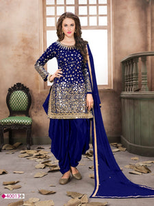 Royal Blue Patiala Suit made of Taffeta Silk with Matching Net With Glass Work Dupatta