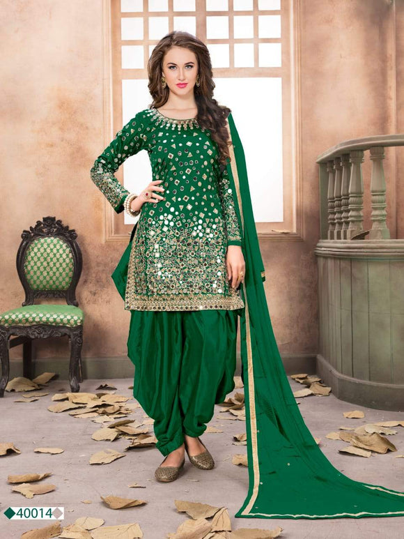 Green Patiala Suit made of Taffeta Silk with Matching Net With Glass Work Dupatta
