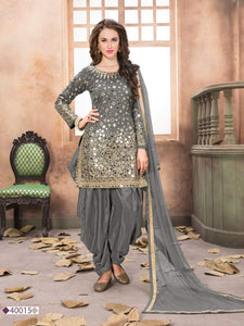 Light grey Patiala Suit made of Taffeta Silk with Matching Net With Glass Work Dupatta