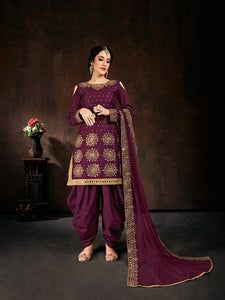 Purple Salwar Suit made of Jam Cotton with Net With Heavy Glass Work Border Dupatta