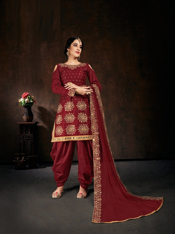 Marron Salwar Suit made of Jam Cotton with Net With Heavy Glass Work Border Dupatta