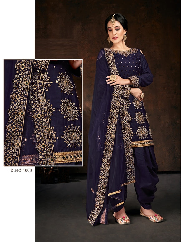 Blue Salwar Suit made of Jam Cotton with Net With Heavy Glass Work Border Dupatta